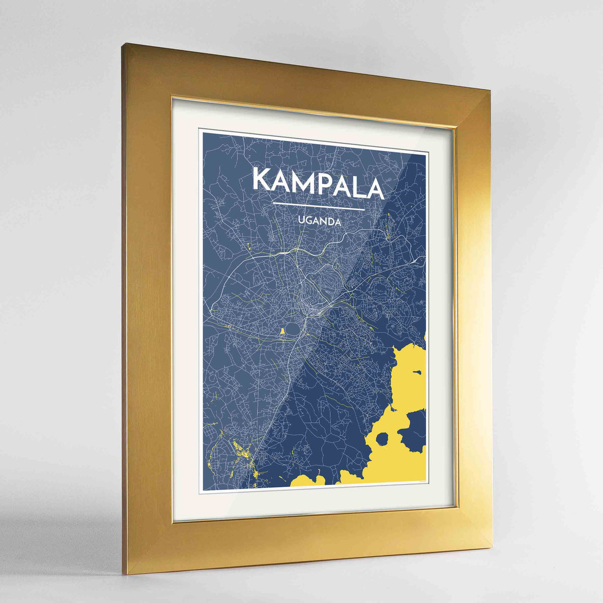 "Framed Kampala Map Art Print 24x36"" Gold frame Point Two Design Group"