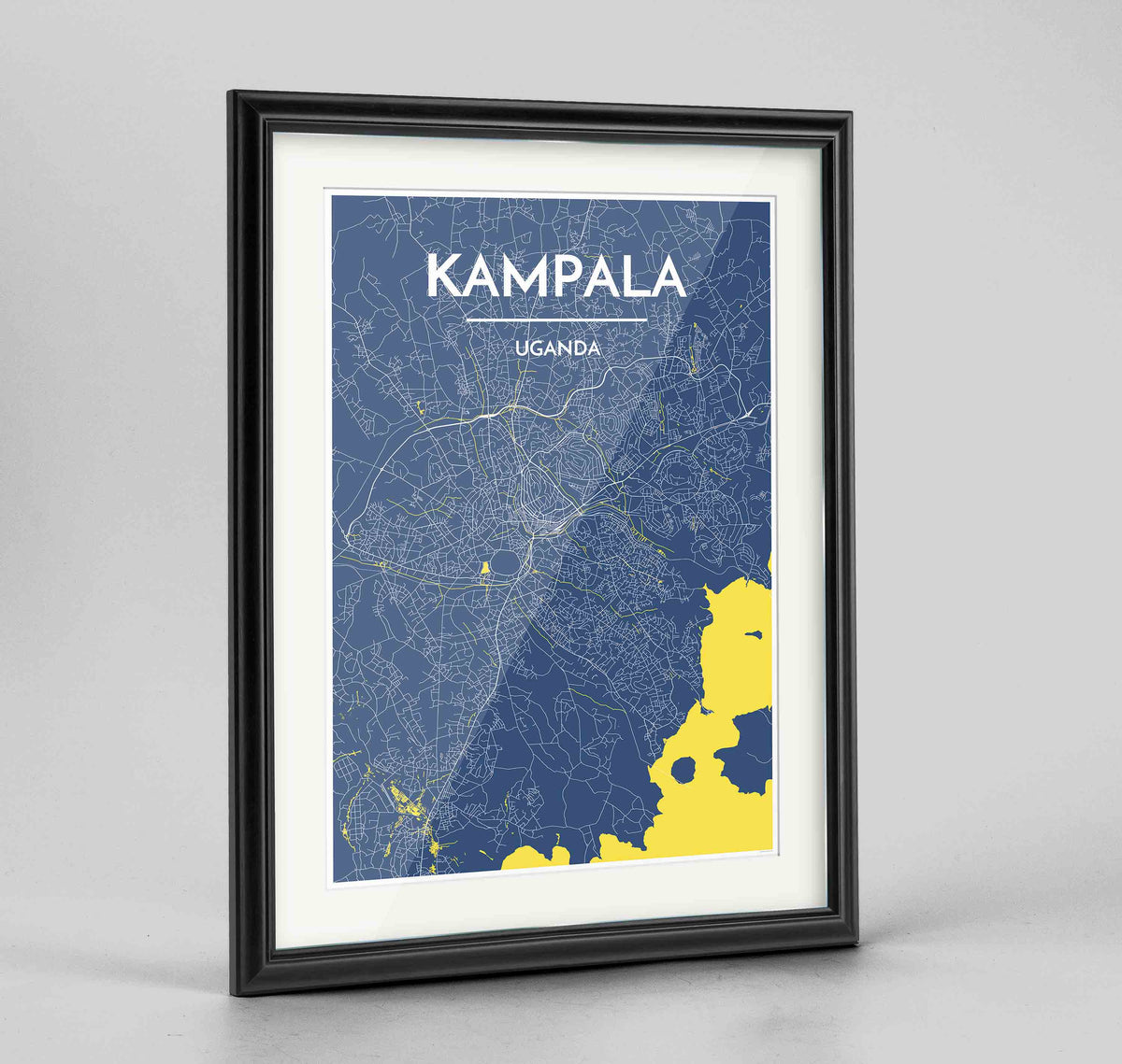 "Framed Kampala Map Art Print 24x36"" Traditional Black frame Point Two Design Group"