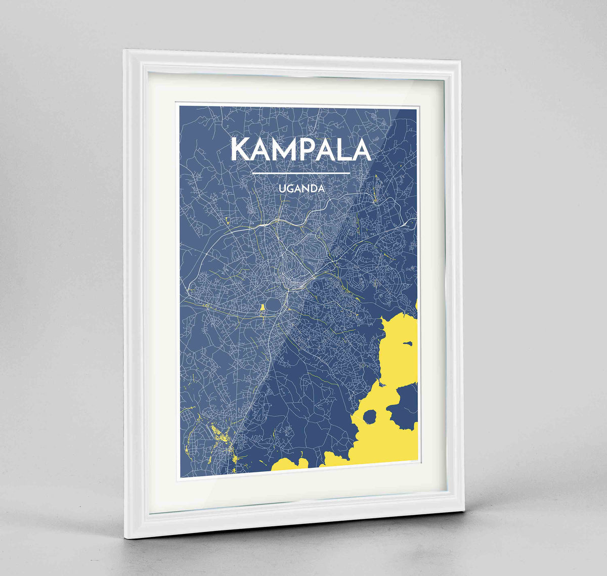 "Framed Kampala Map Art Print 24x36"" Traditional White frame Point Two Design Group"