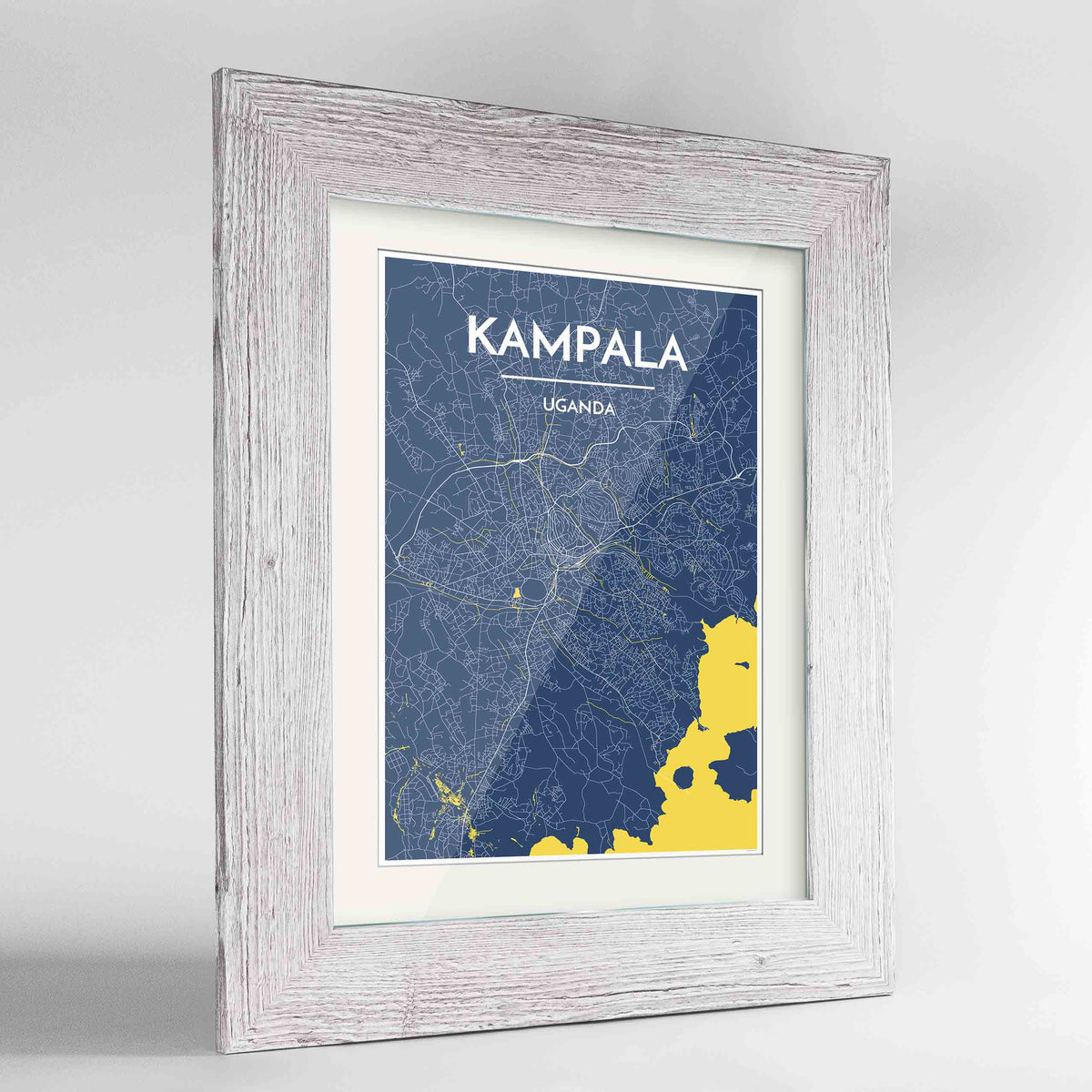 "Framed Kampala Map Art Print 24x36"" Western White frame Point Two Design Group"