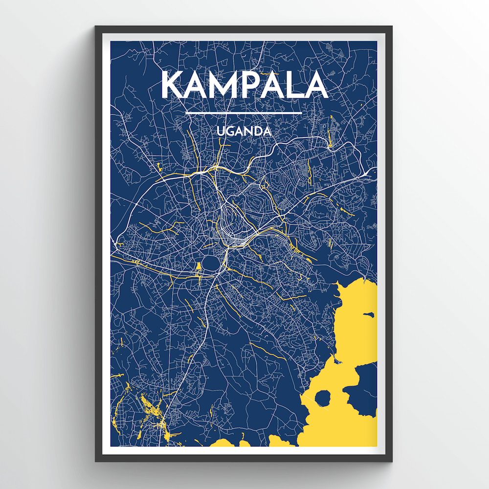 Kampala City Map Art Print - Point Two Design