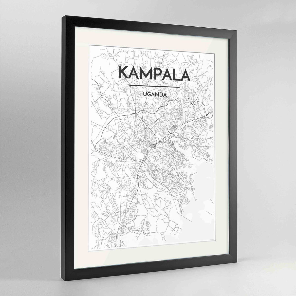 "Framed Kampala Map Art Print 24x36"" Contemporary Black frame Point Two Design Group"
