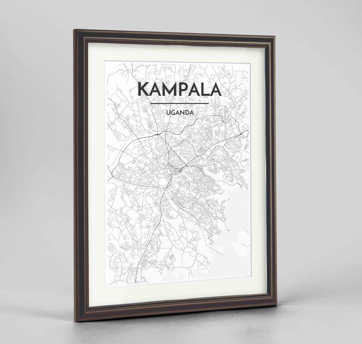 "Framed Kampala Map Art Print 24x36"" Traditional Walnut frame Point Two Design Group"