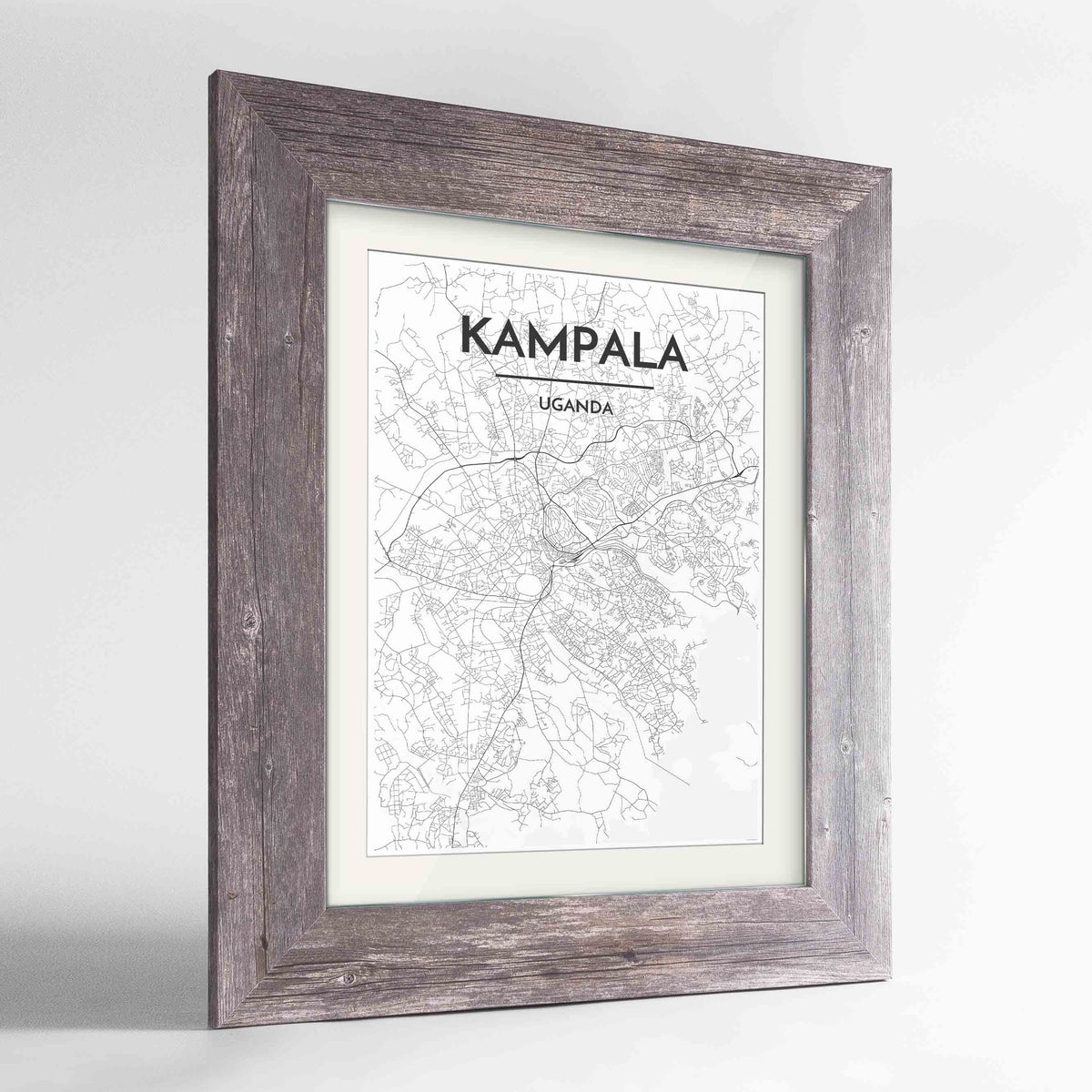 "Framed Kampala Map Art Print 24x36"" Western Grey frame Point Two Design Group"