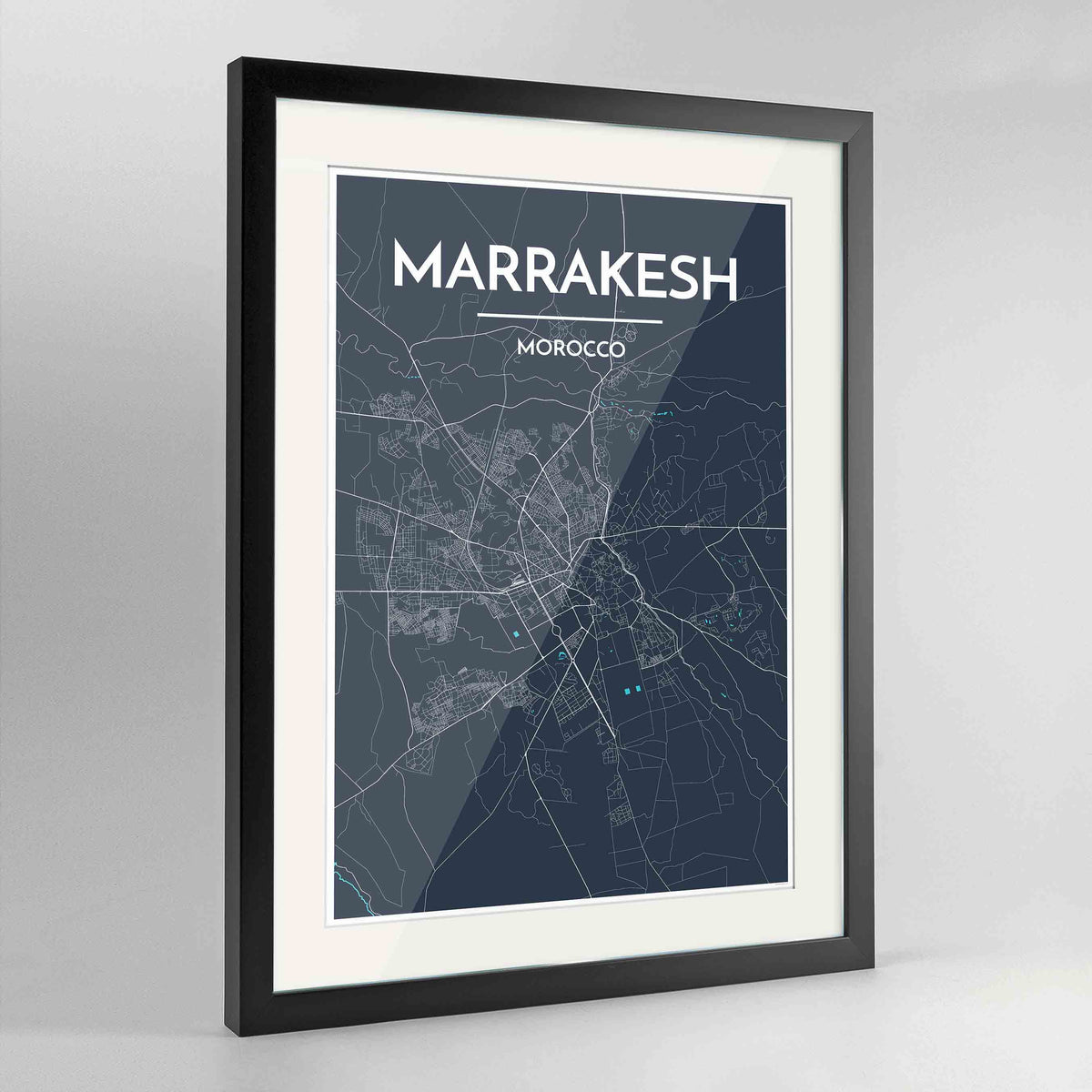 "Framed Marrakesh Map Art Print 24x36"" Contemporary Black frame Point Two Design Group"