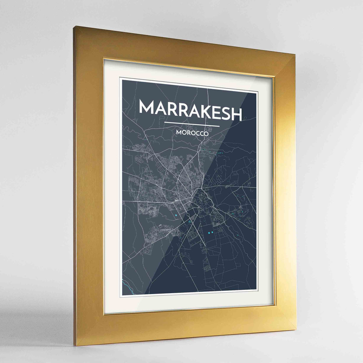 "Framed Marrakesh Map Art Print 24x36"" Gold frame Point Two Design Group"