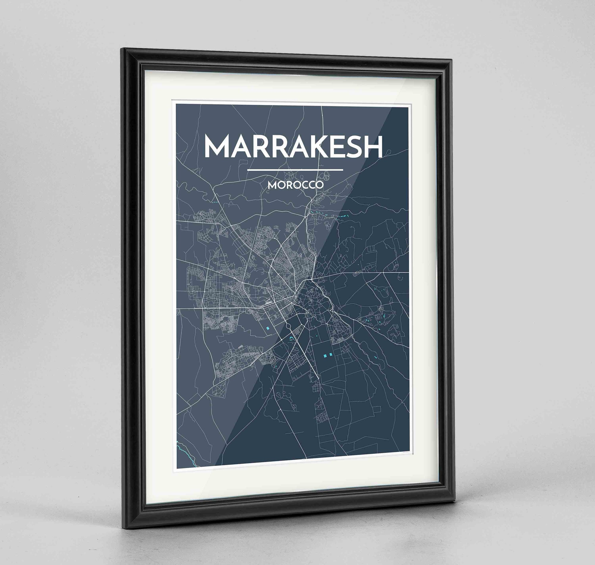 "Framed Marrakesh Map Art Print 24x36"" Traditional Black frame Point Two Design Group"