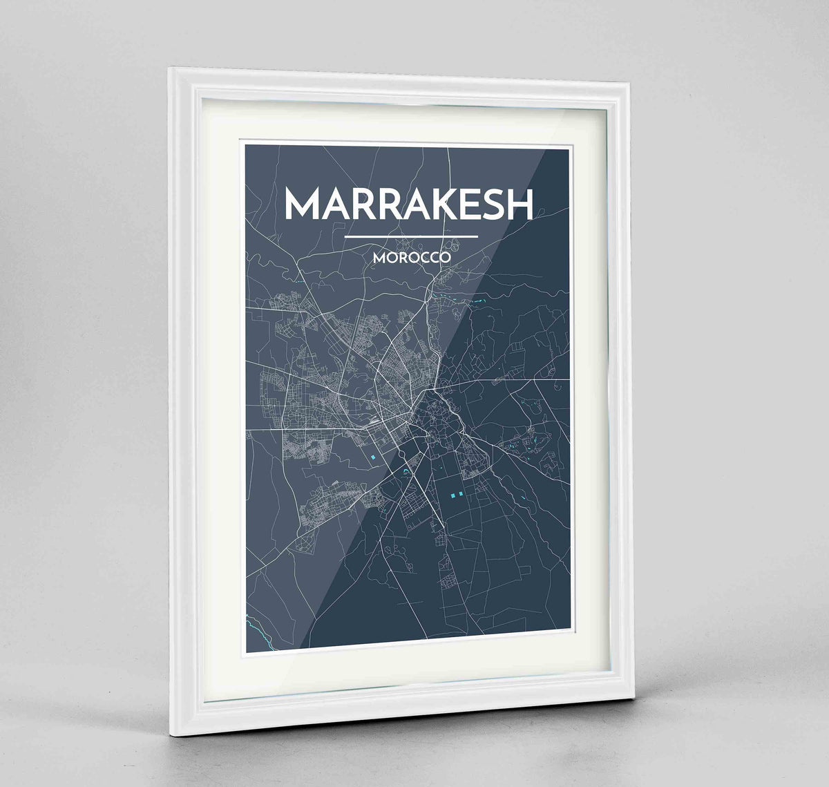 "Framed Marrakesh Map Art Print 24x36"" Traditional White frame Point Two Design Group"