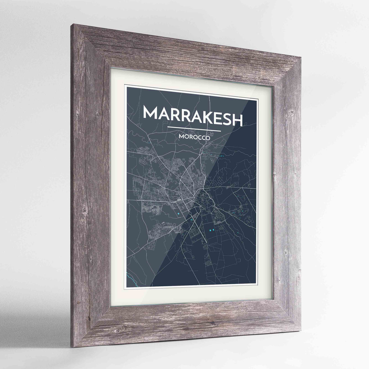 "Framed Marrakesh Map Art Print 24x36"" Western Grey frame Point Two Design Group"