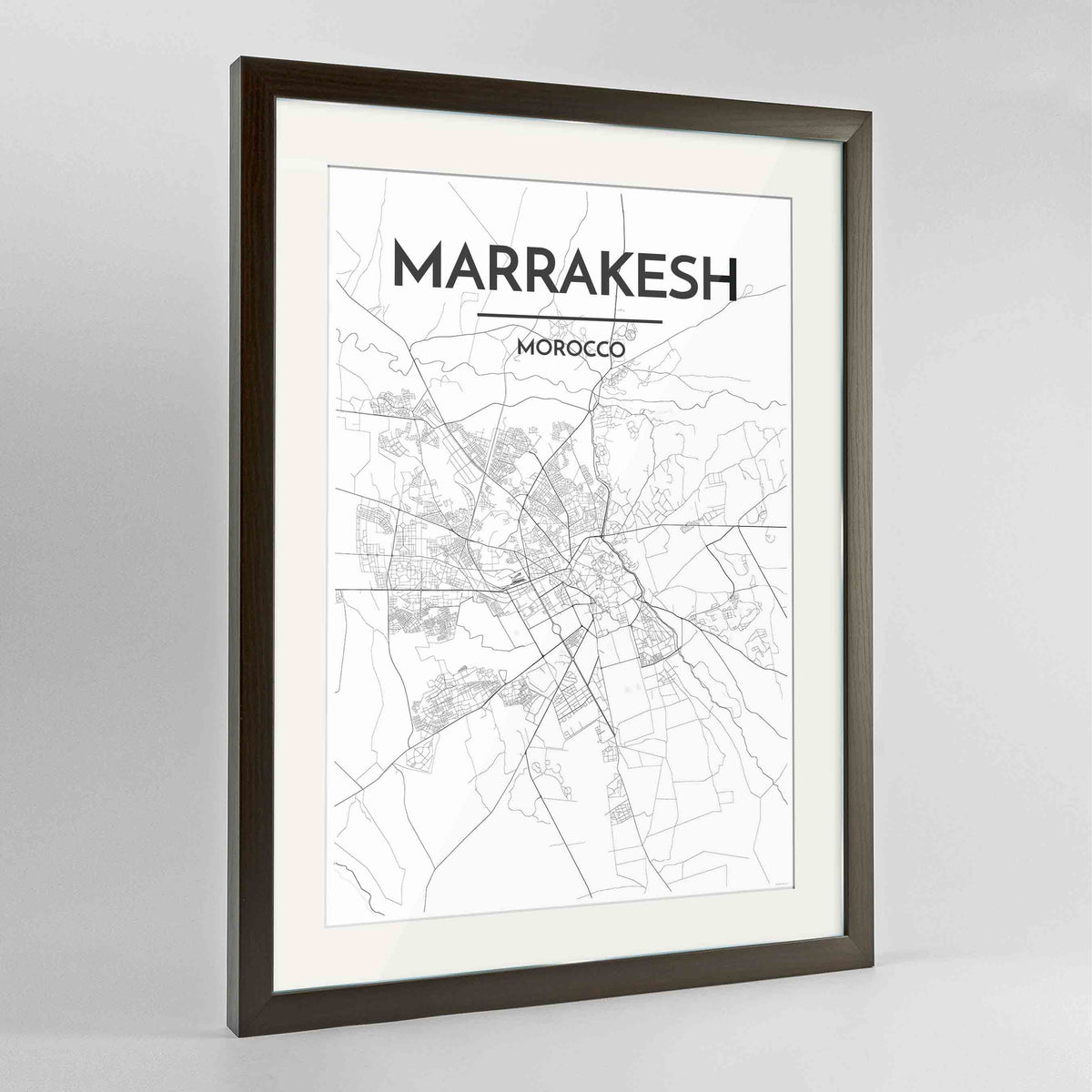 "Framed Marrakesh Map Art Print 24x36"" Contemporary Walnut frame Point Two Design Group"