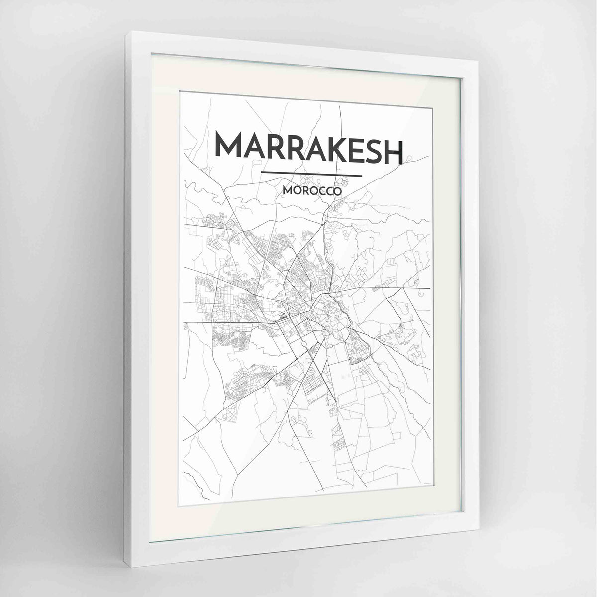 "Framed Marrakesh Map Art Print 24x36"" Contemporary White frame Point Two Design Group"