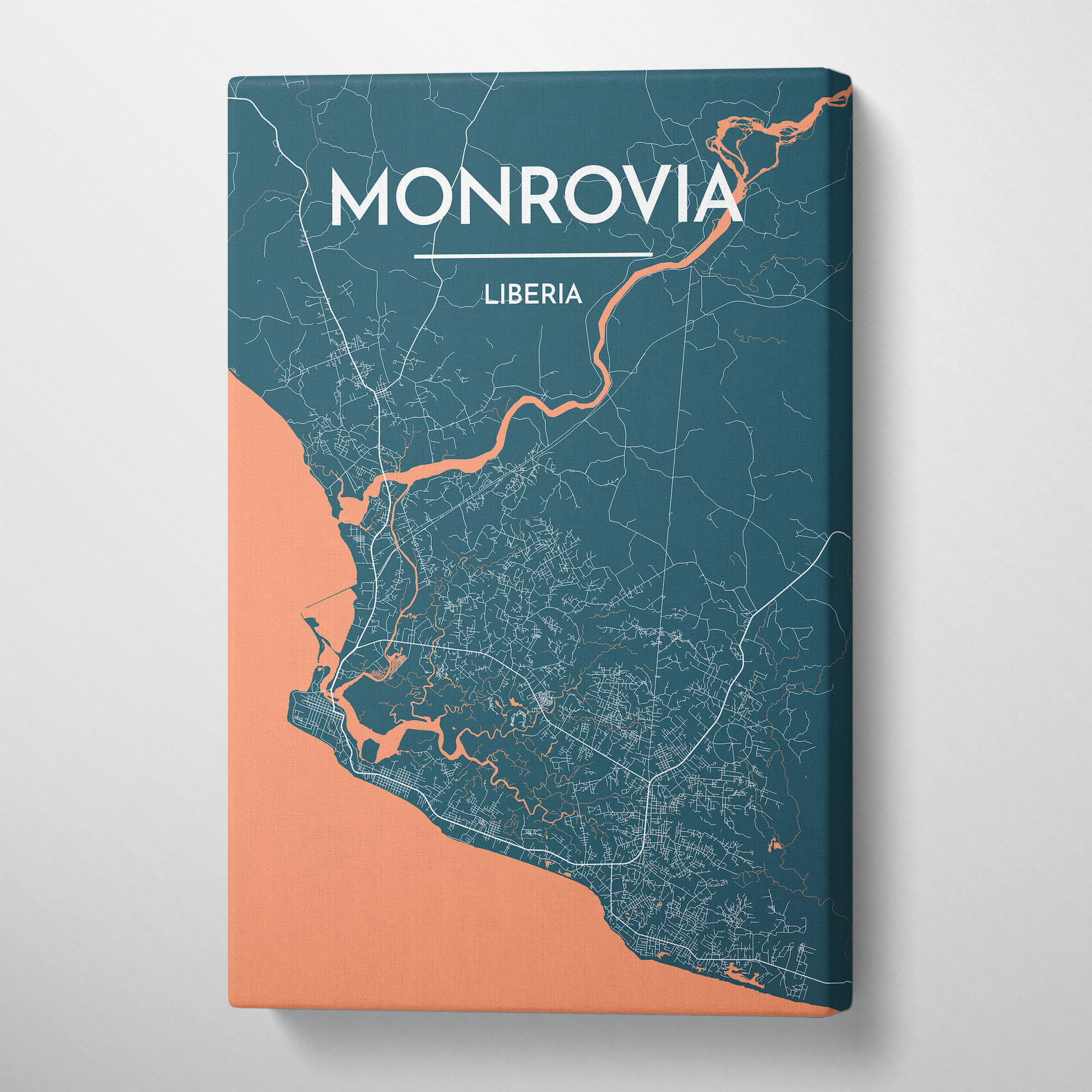 Monrovia Map Art Print Map Canvas Wrap - Point Two Design