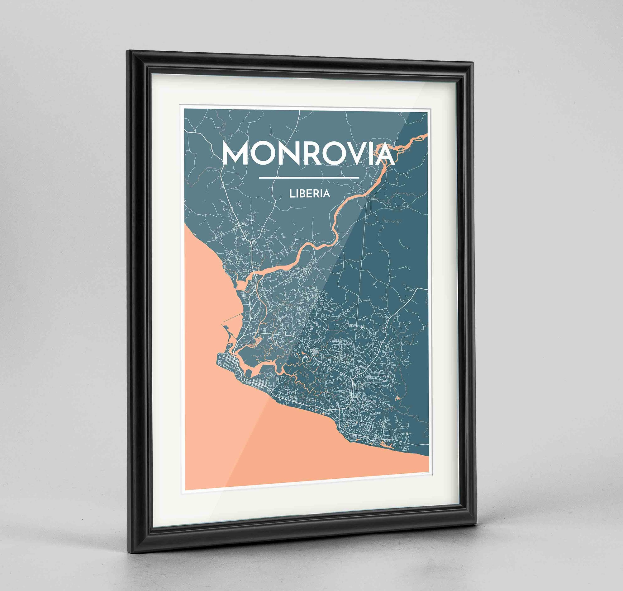 "Framed Monrovia Map Art Print 24x36"" Traditional Black frame Point Two Design Group"