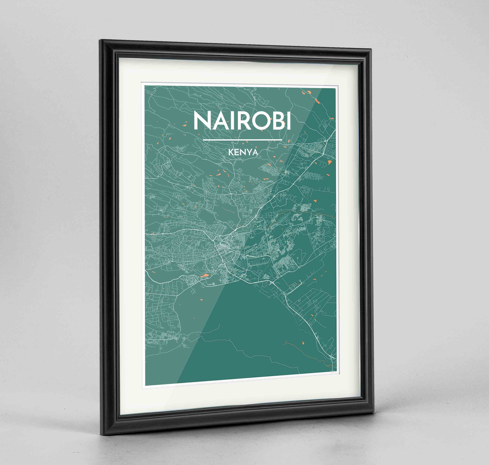"Framed Nairobi Map Art Print 24x36"" Traditional Black frame Point Two Design Group"