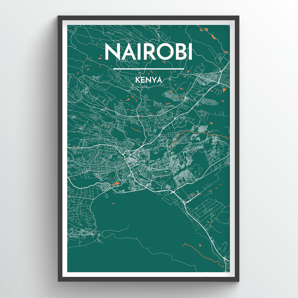 Nairobi City Map Art Print - Point Two Design