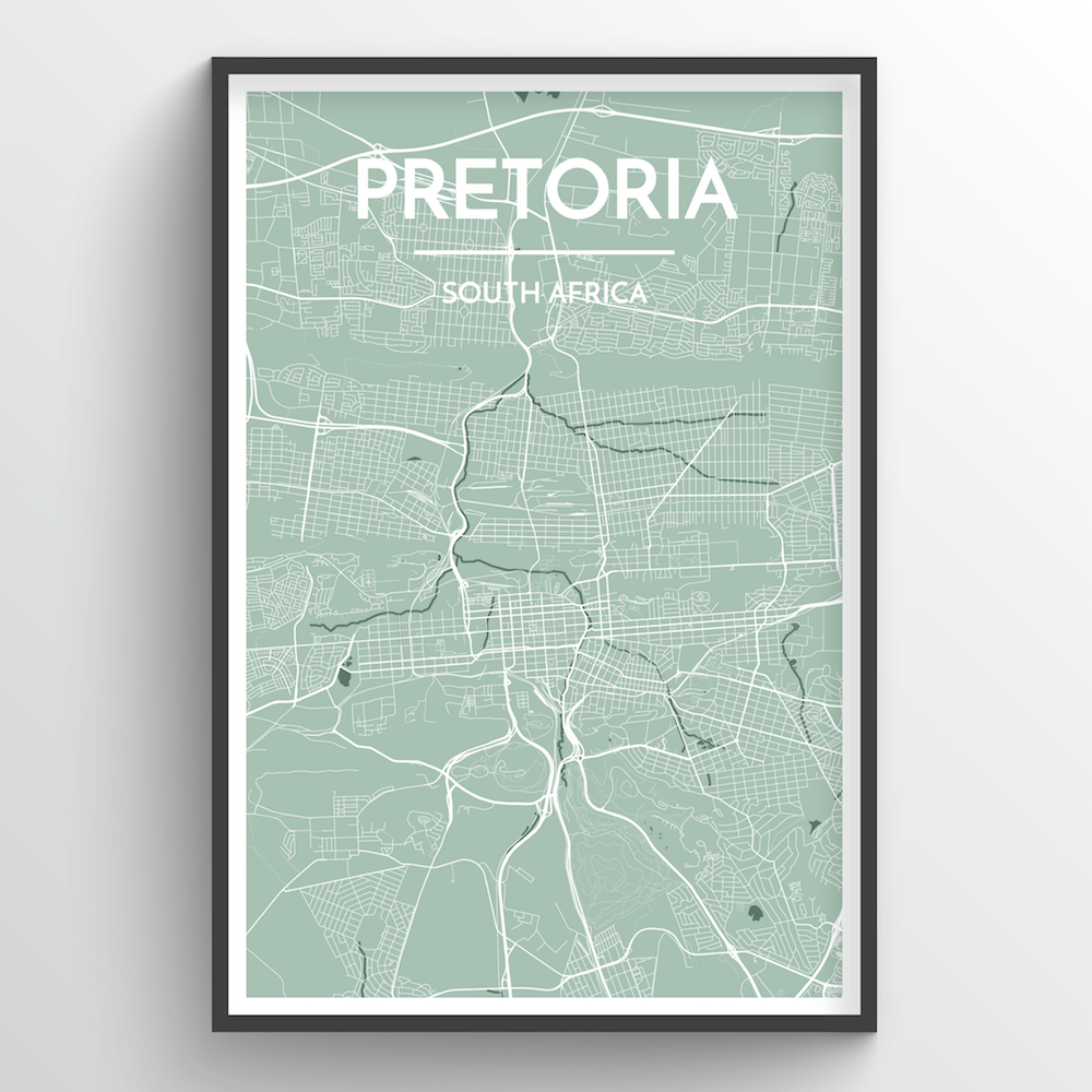 Pretoria City Map Art Print - Point Two Design