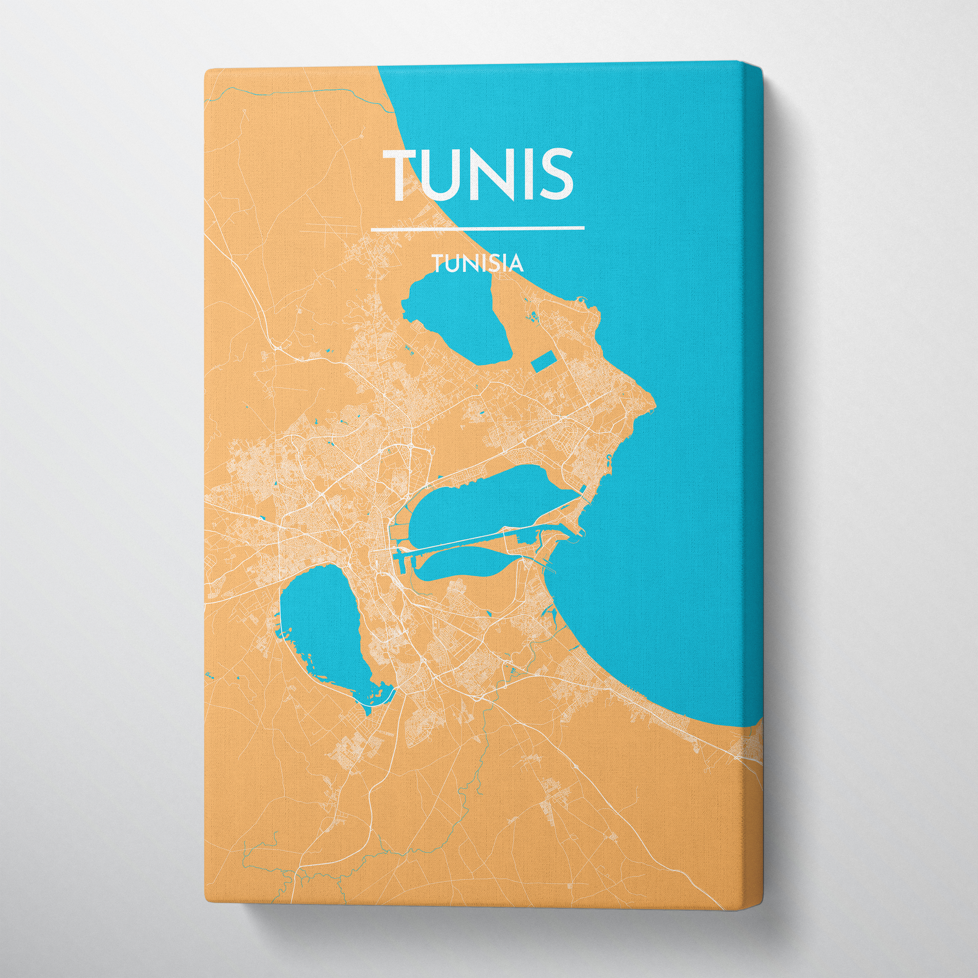 Tunis City Map Canvas Wrap - Point Two Design