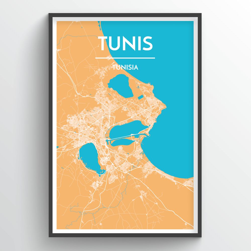 Tunis City Map Art Print - Point Two Design