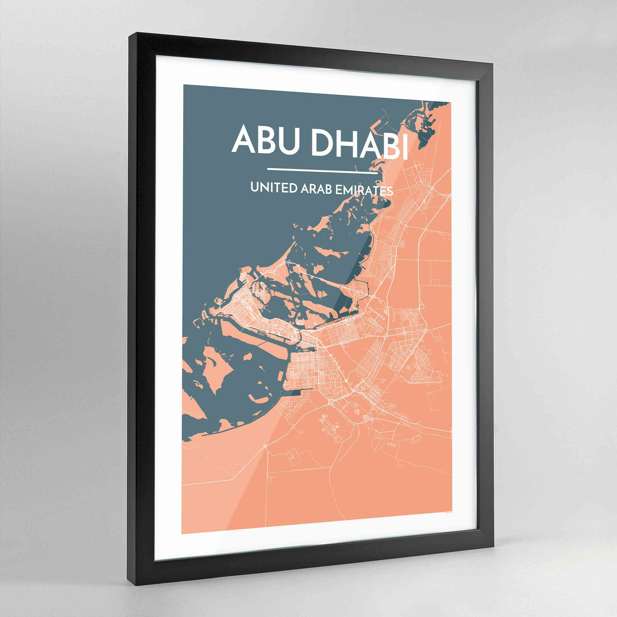 Framed Abu Dhabi Map Art Print - Point Two Design