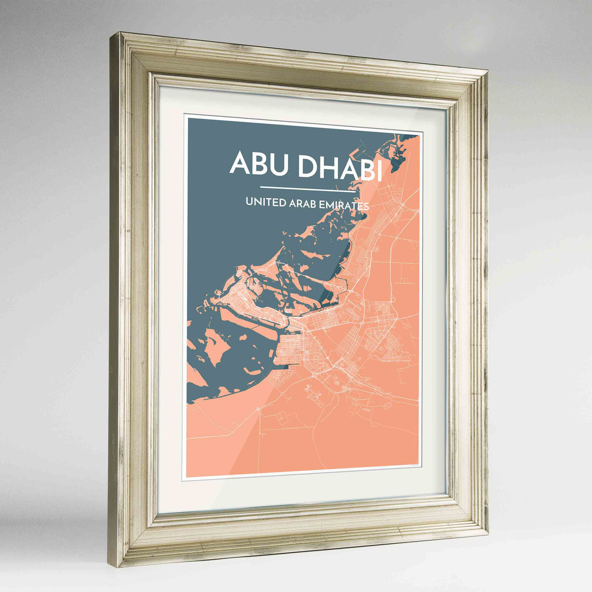 "Framed Abu Dhabi Map Art Print 24x36"" Champagne frame Point Two Design Group"