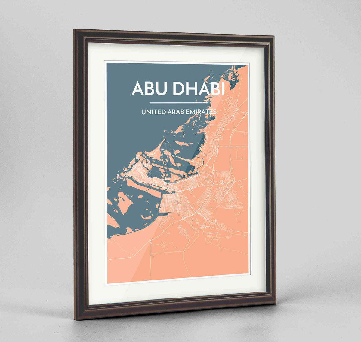 "Framed Abu Dhabi Map Art Print 24x36"" Traditional Walnut frame Point Two Design Group"