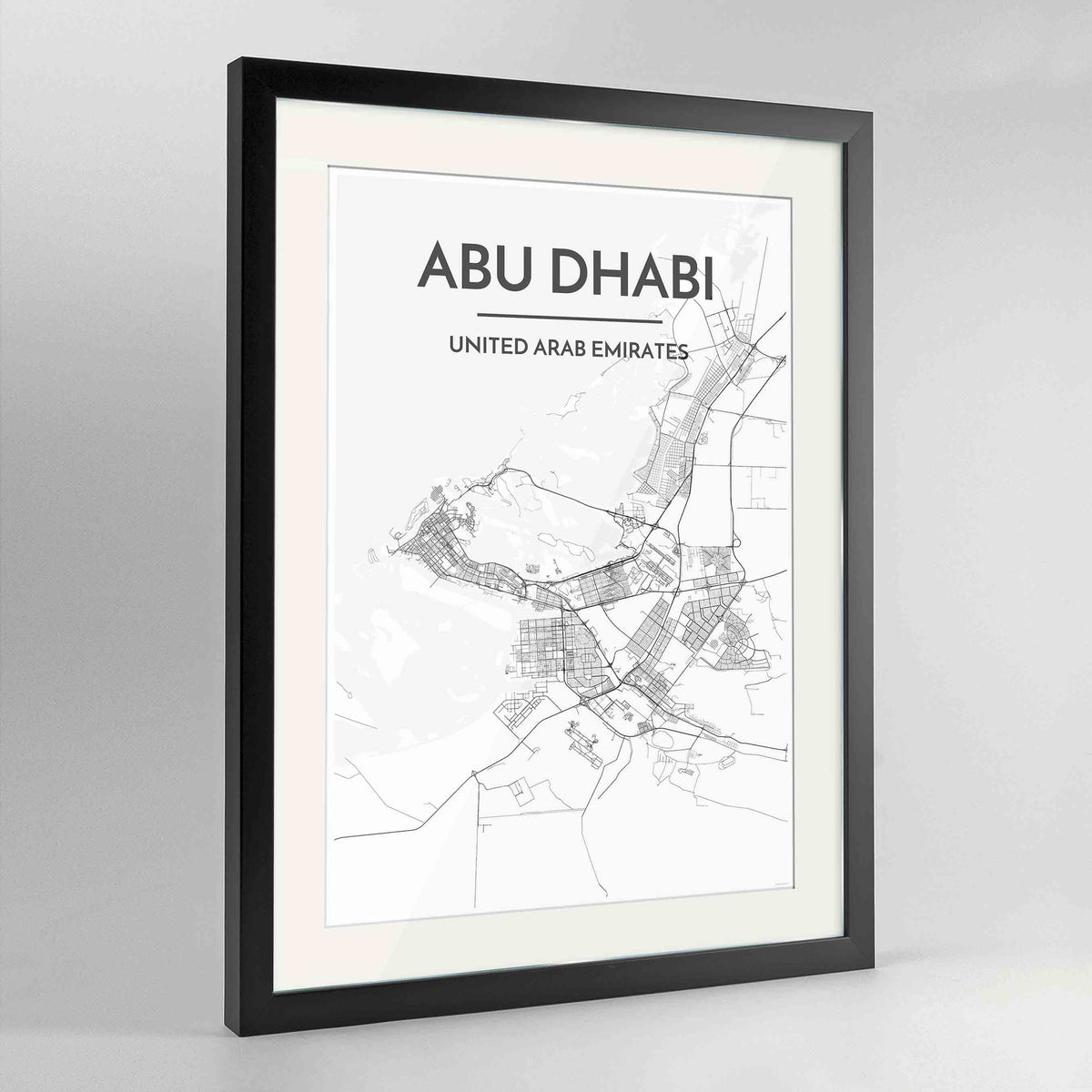 "Framed Abu Dhabi Map Art Print 24x36"" Contemporary Black frame Point Two Design Group"