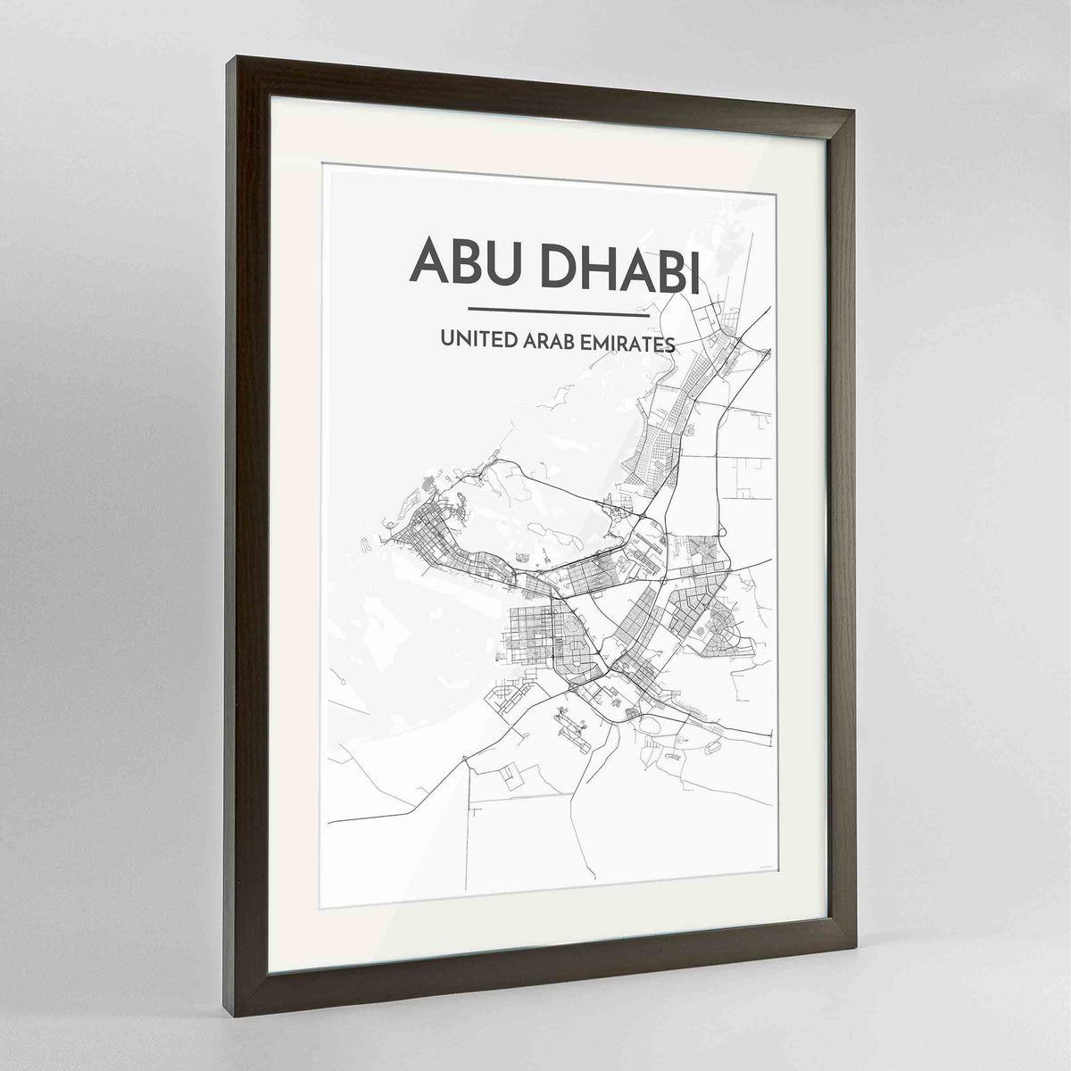 "Framed Abu Dhabi Map Art Print 24x36"" Contemporary Walnut frame Point Two Design Group"