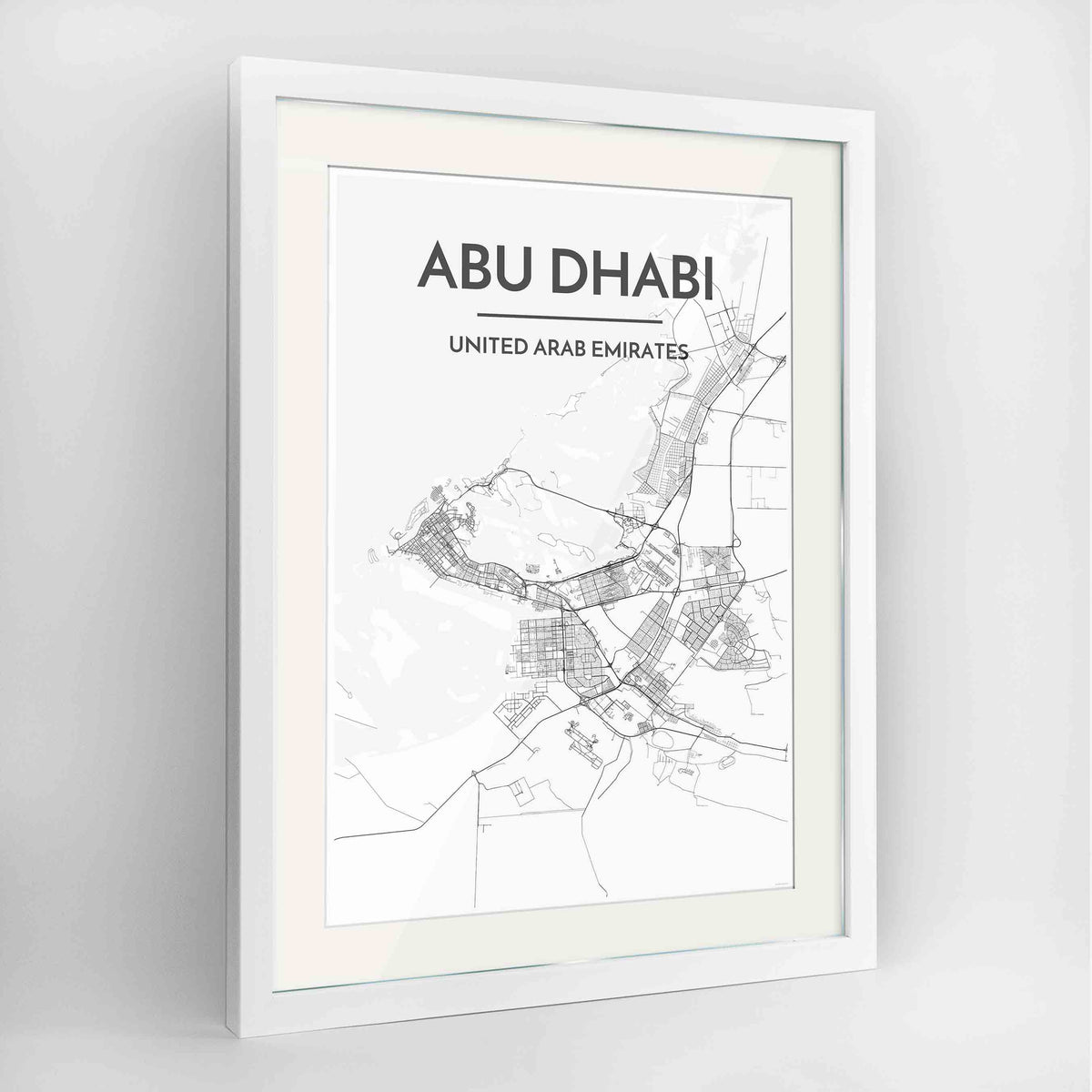 "Framed Abu Dhabi Map Art Print 24x36"" Contemporary White frame Point Two Design Group"