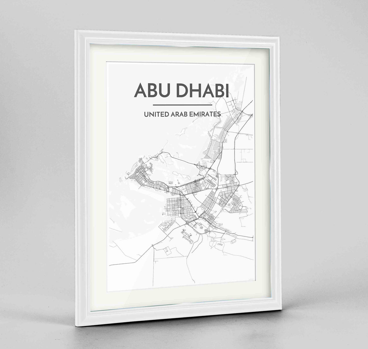 "Framed Abu Dhabi Map Art Print 24x36"" Traditional White frame Point Two Design Group"