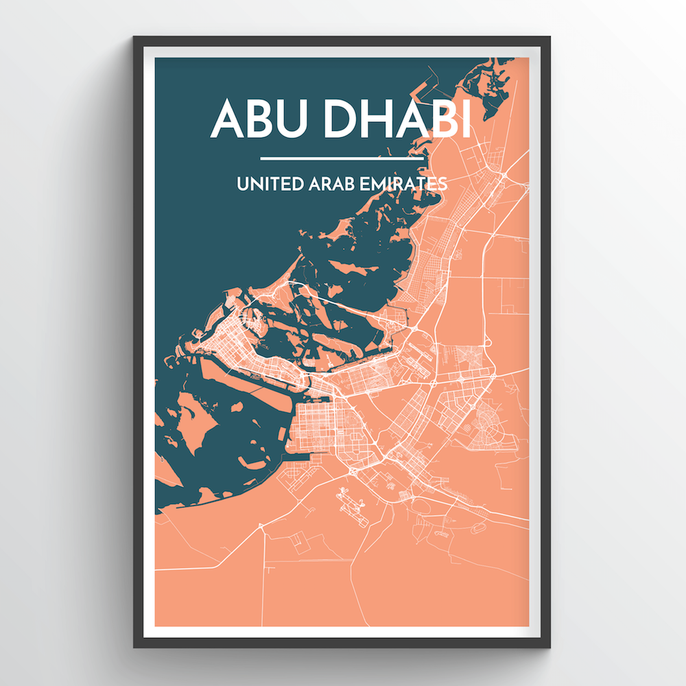 Abu Dhabi Map Art Print - Point Two Design