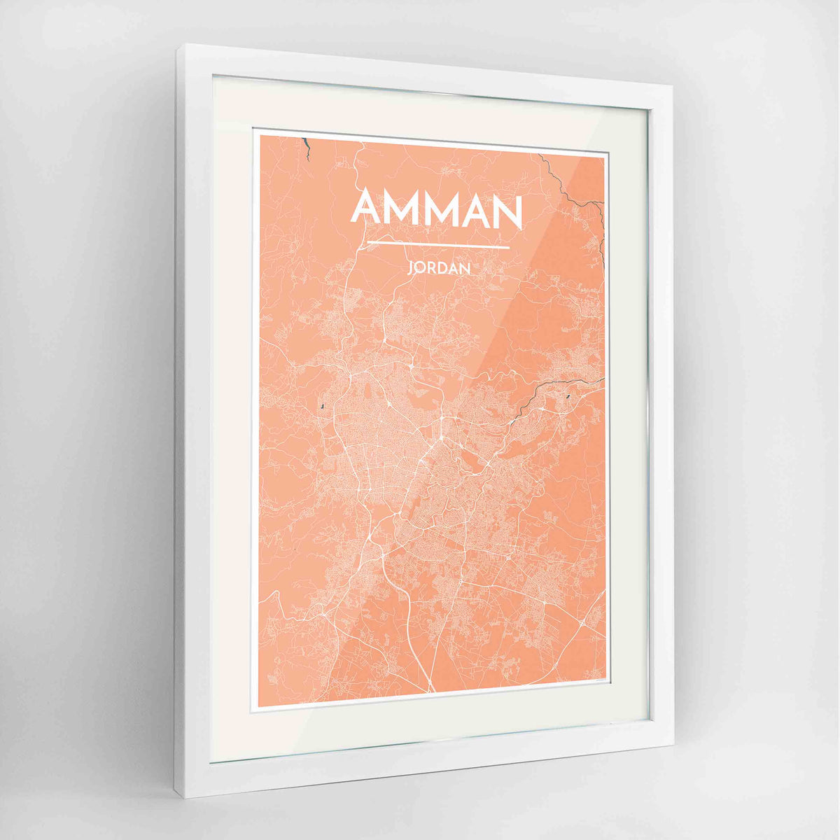 "Framed Amman Map Art Print 24x36"" Contemporary White frame Point Two Design Group"