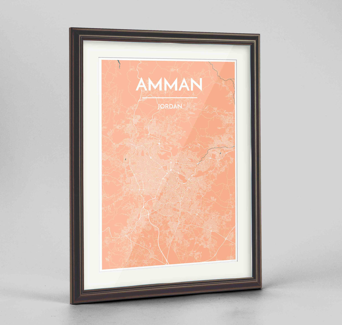 "Framed Amman Map Art Print 24x36"" Traditional Walnut frame Point Two Design Group"