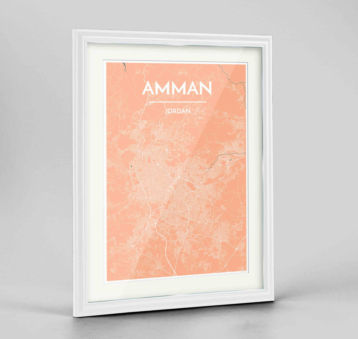 "Framed Amman Map Art Print 24x36"" Traditional White frame Point Two Design Group"