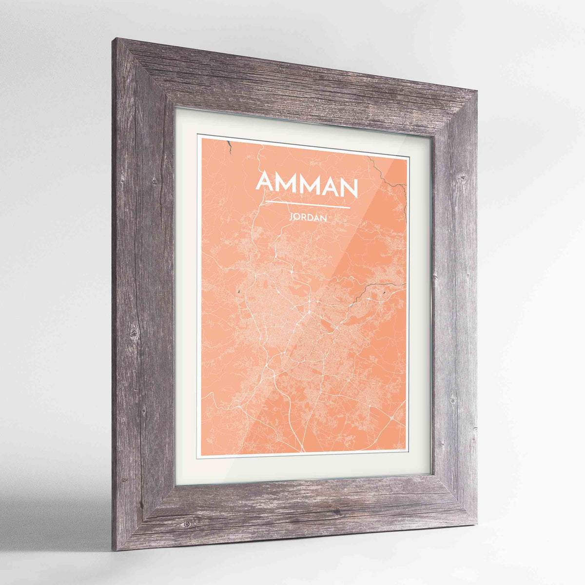 "Framed Amman Map Art Print 24x36"" Western Grey frame Point Two Design Group"