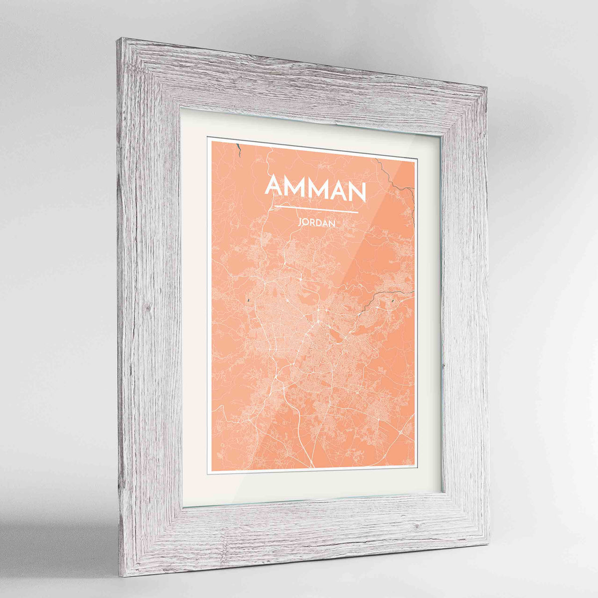 "Framed Amman Map Art Print 24x36"" Western White frame Point Two Design Group"
