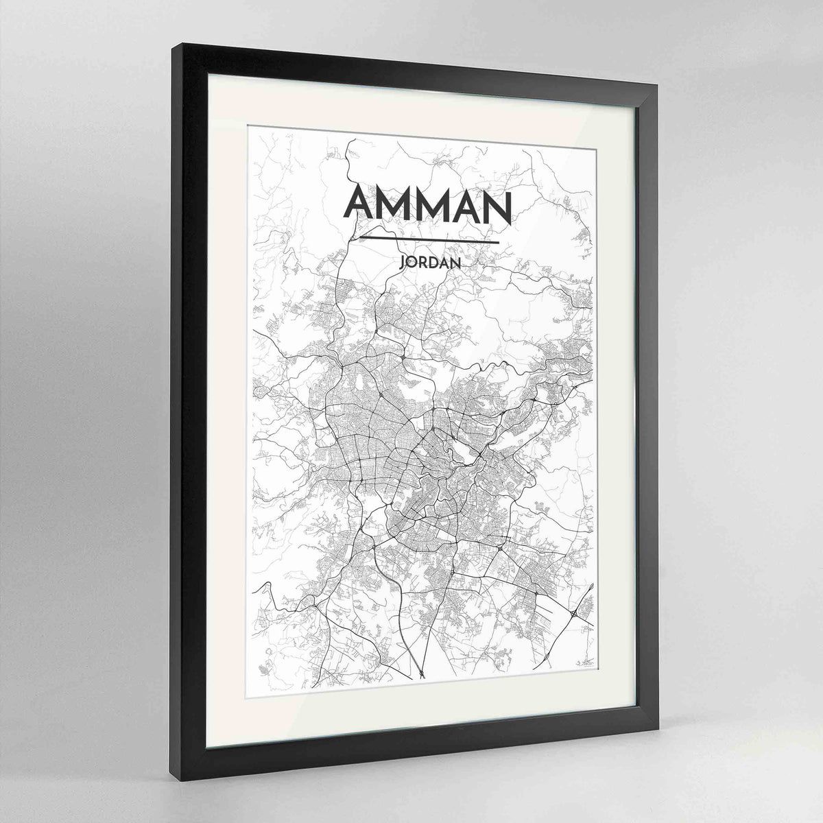 "Framed Amman Map Art Print 24x36"" Contemporary Black frame Point Two Design Group"