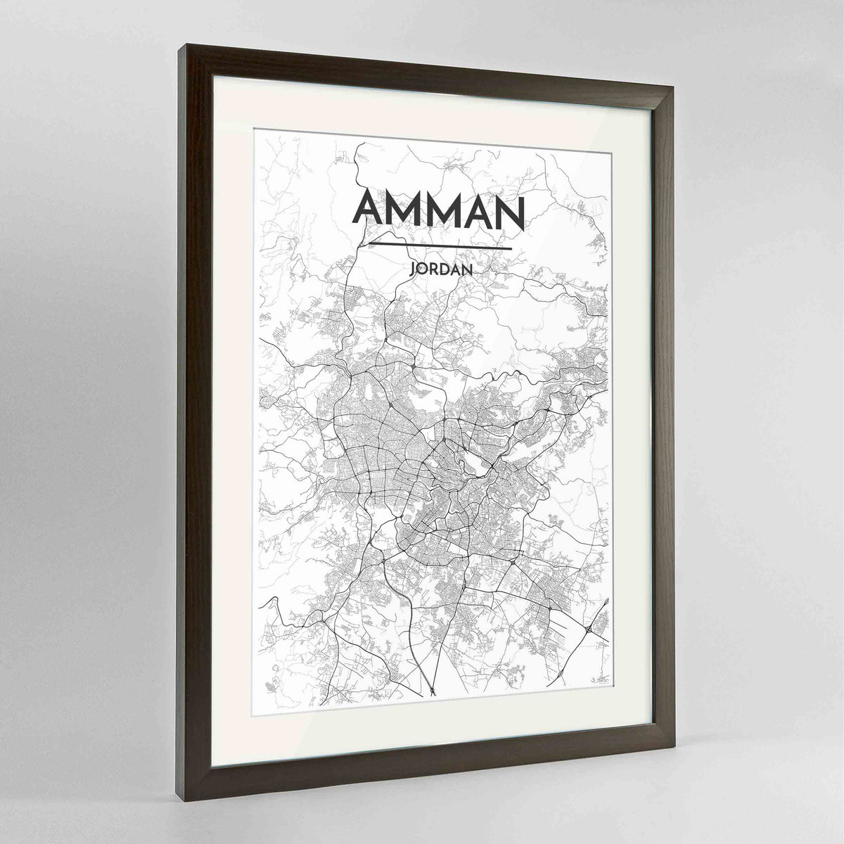 "Framed Amman Map Art Print 24x36"" Contemporary Walnut frame Point Two Design Group"
