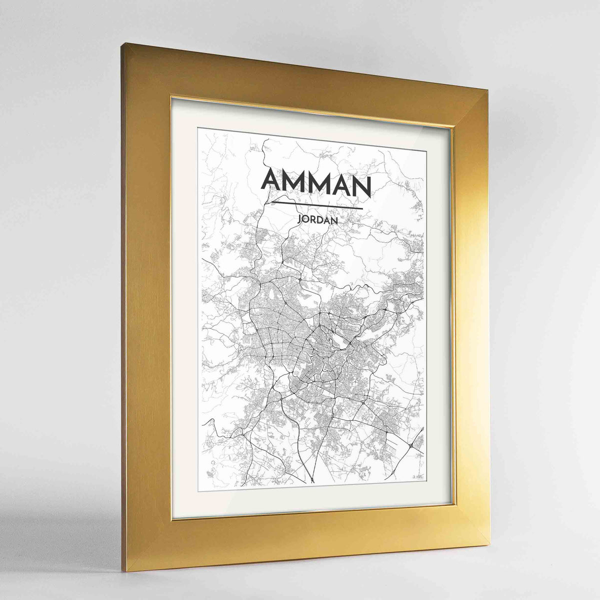 "Framed Amman Map Art Print 24x36"" Gold frame Point Two Design Group"
