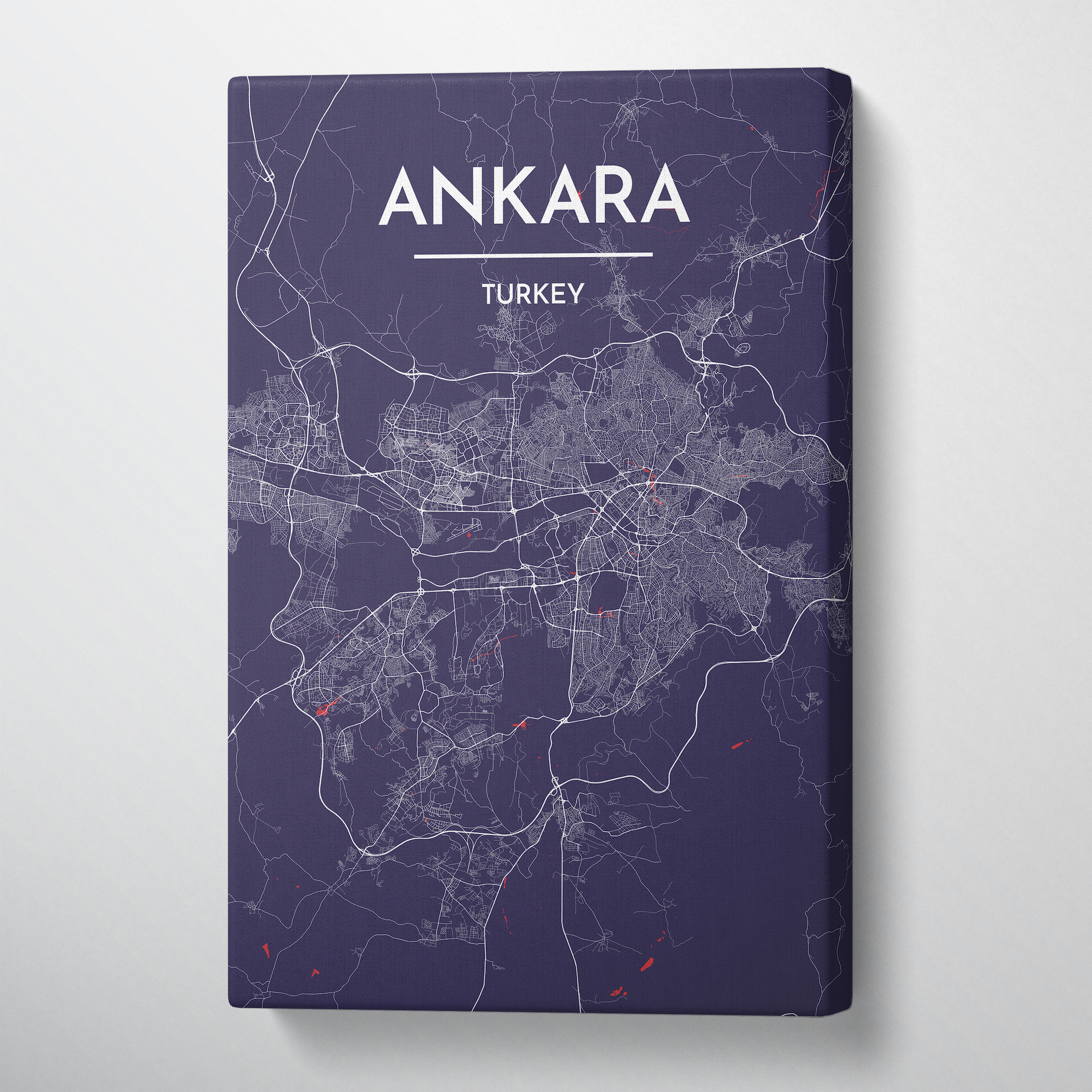 Ankara Map Canvas Wrap - Point Two Design