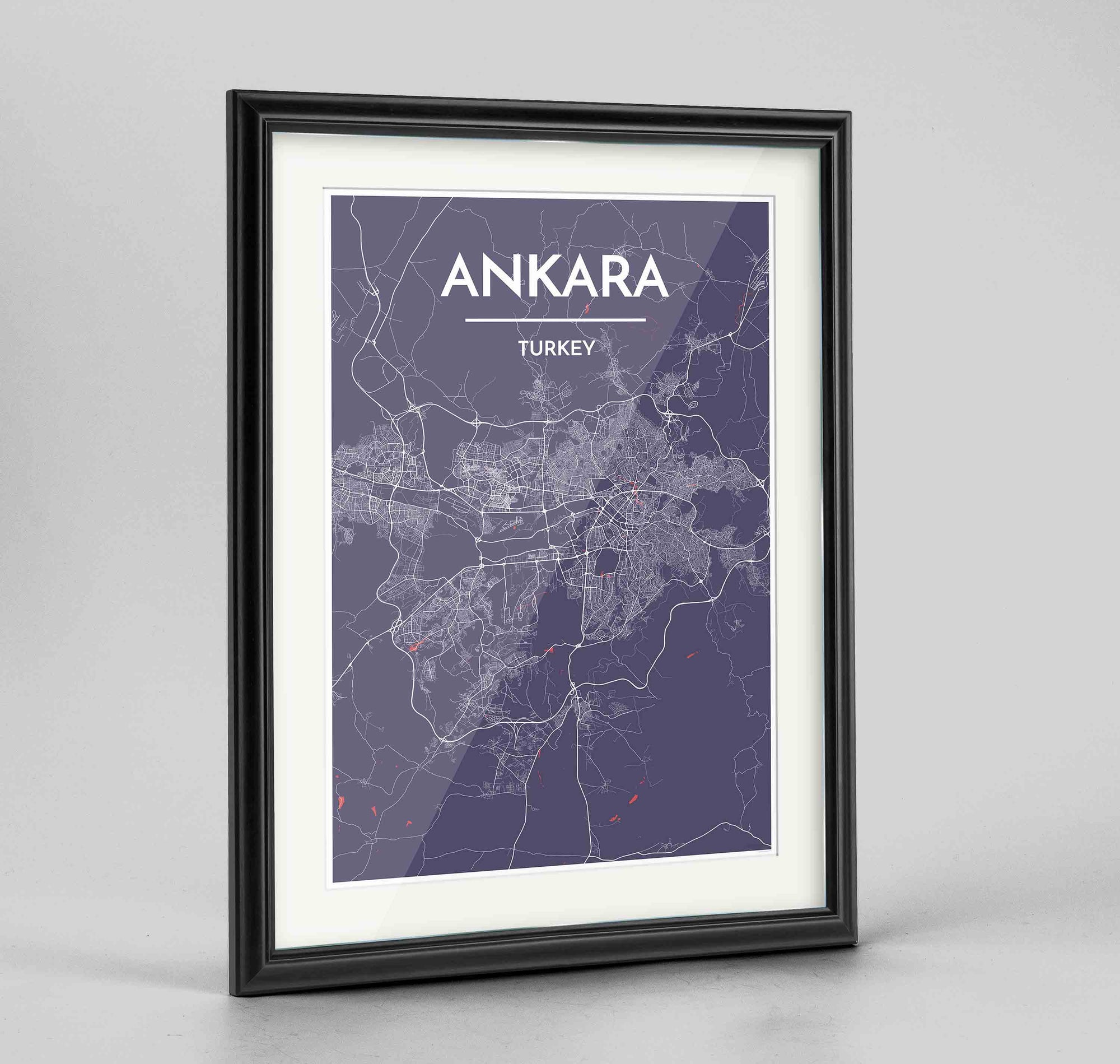 "Framed Ankara Map Art Print 24x36"" Traditional Black frame Point Two Design Group"