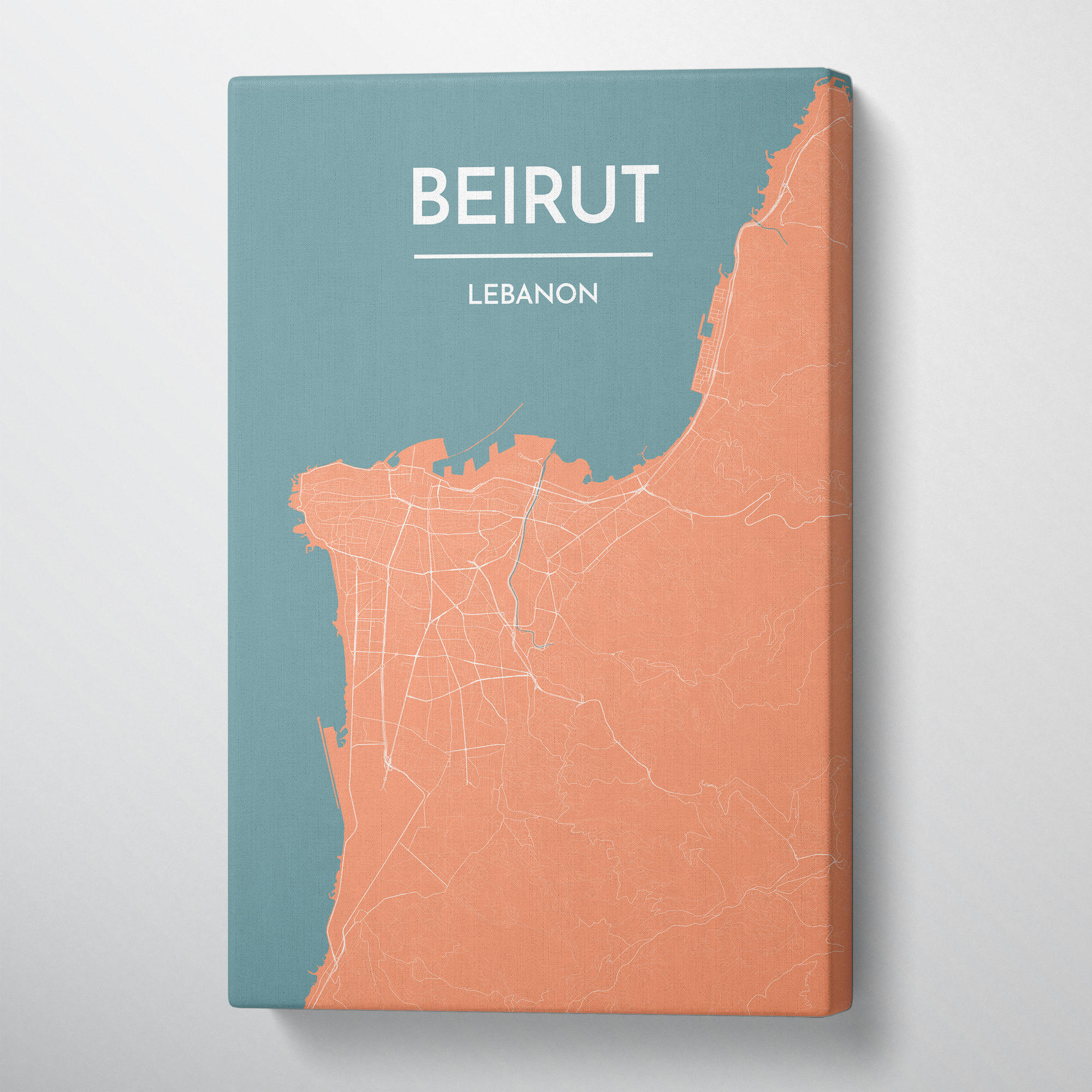 Beirut Map Canvas Wrap - Point Two Design