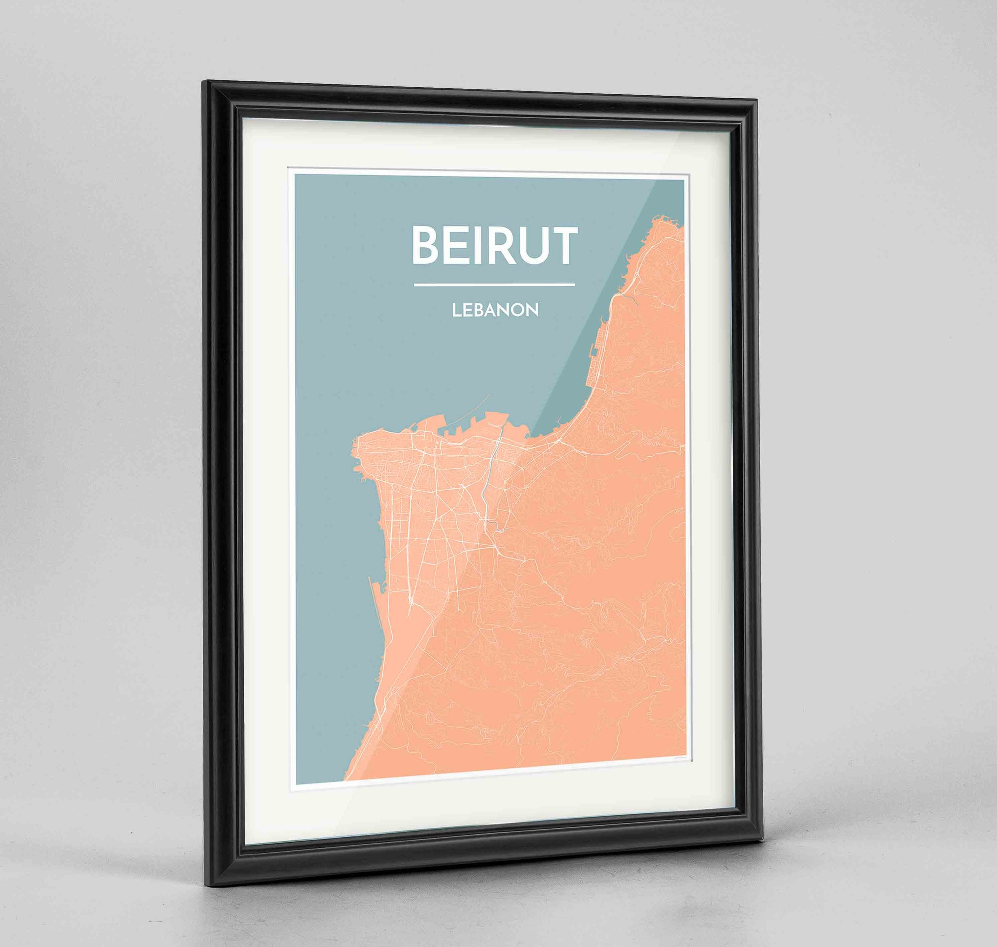 "Framed Beirut Map Art Print 24x36"" Traditional Black frame Point Two Design Group"