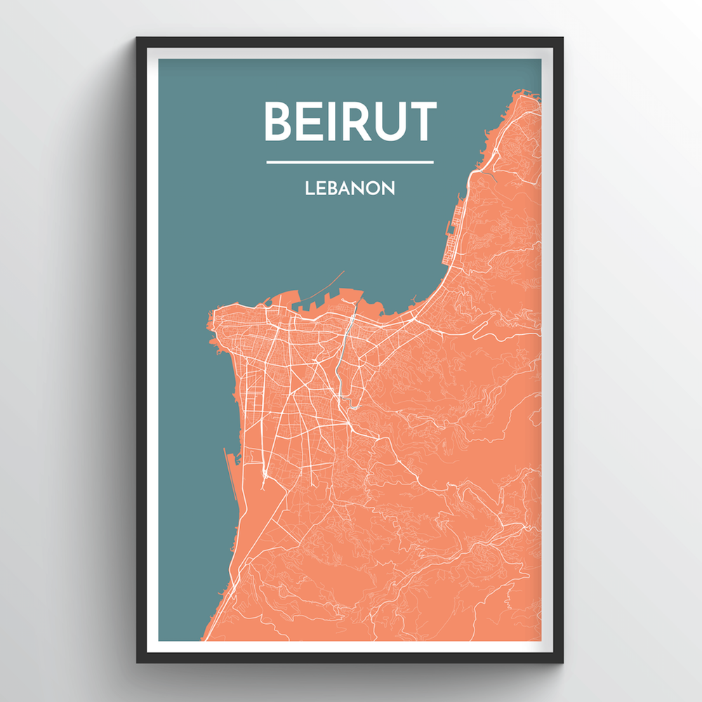 Beirut City Map Art Print - Point Two Design