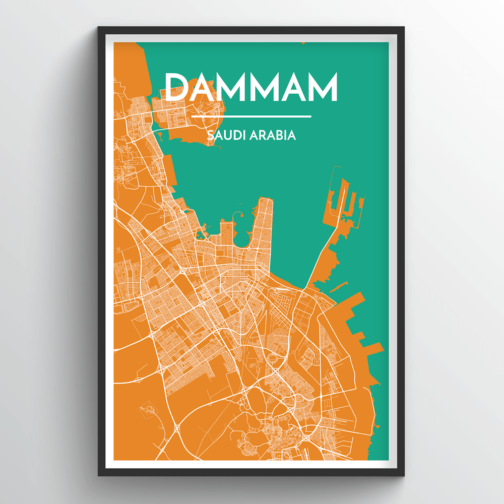 Dammam Map Art Print - Point Two Design