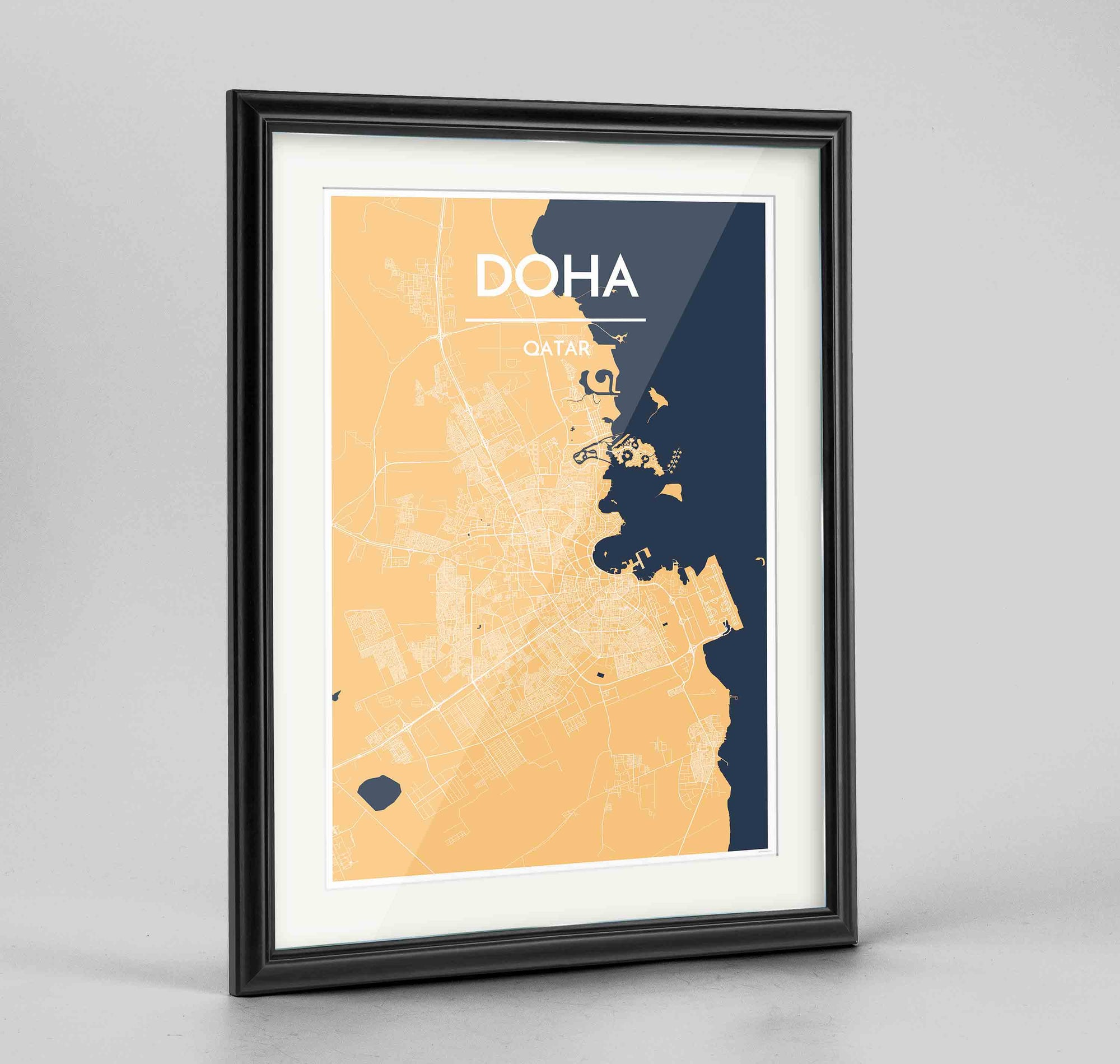 "Framed Doha Map Art Print 24x36"" Traditional Black frame Point Two Design Group"
