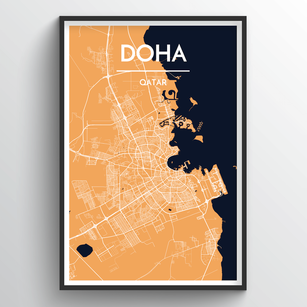 Doha City Map Art Print - Point Two Design
