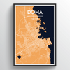 Doha Map Art Print - Point Two Design
