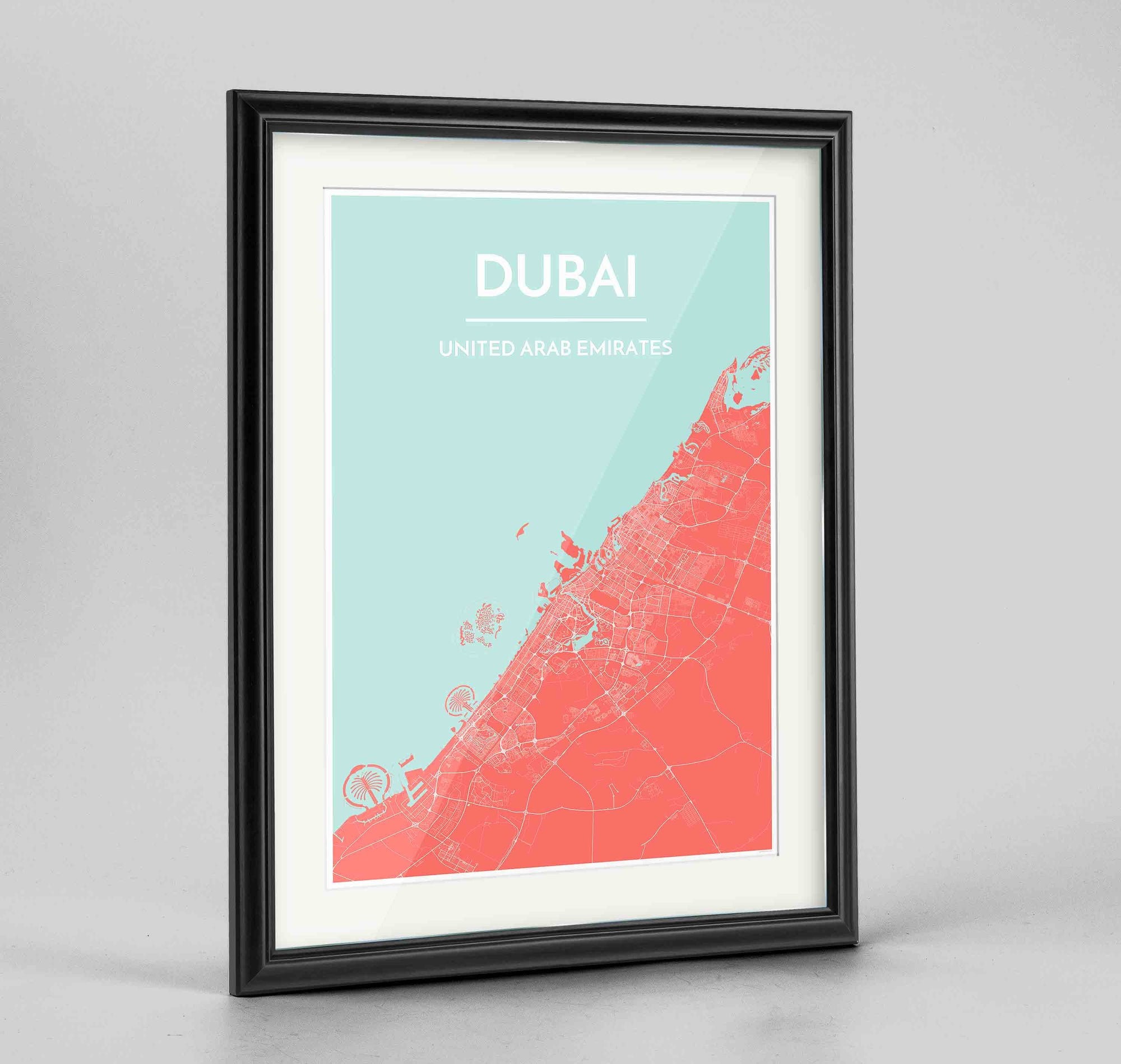 "Framed Dubai Map Art Print 24x36"" Traditional Black frame Point Two Design Group"