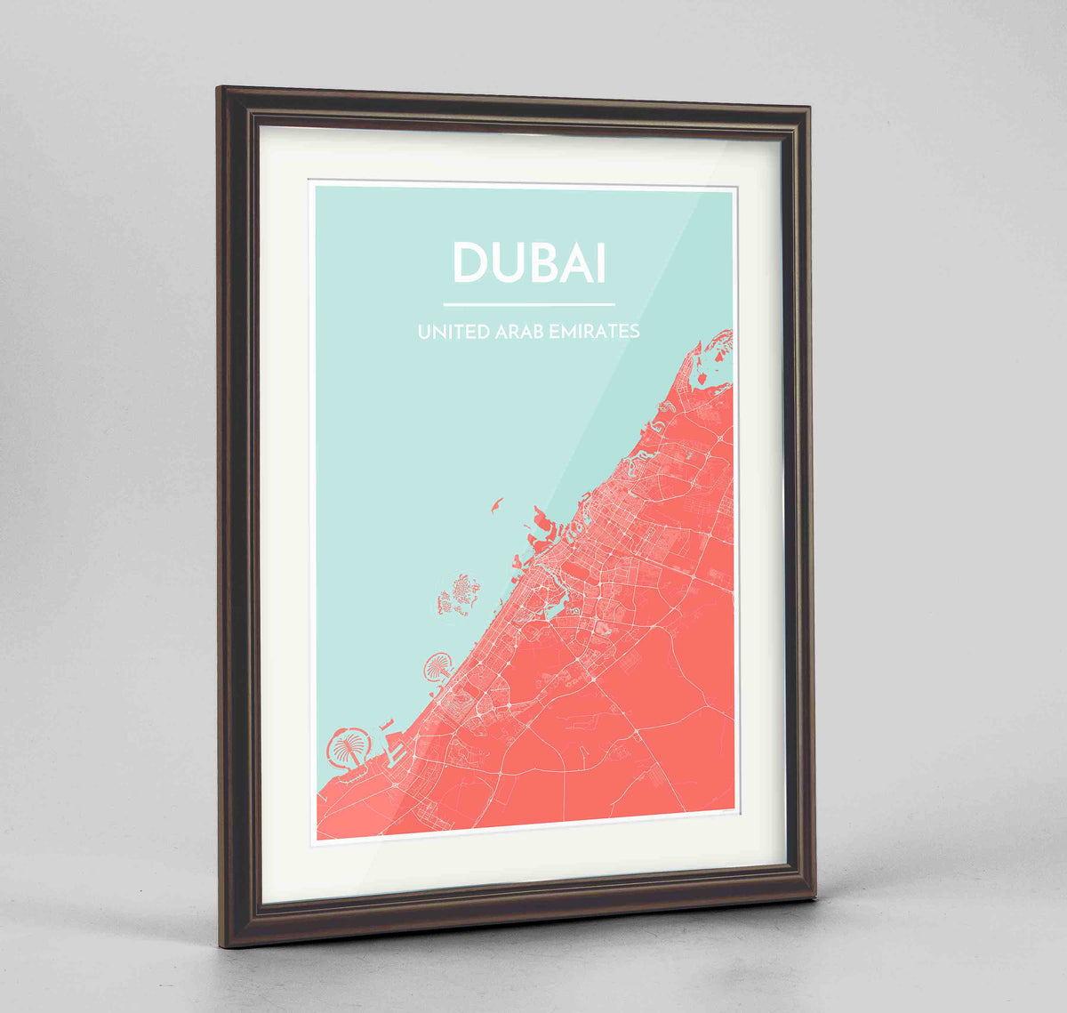 "Framed Dubai Map Art Print 24x36"" Traditional Walnut frame Point Two Design Group"