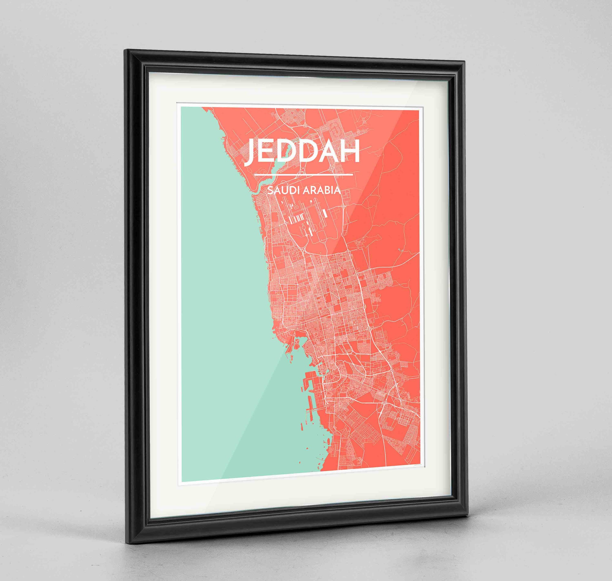 "Framed Jeddah Map Art Print 24x36"" Traditional Black frame Point Two Design Group"